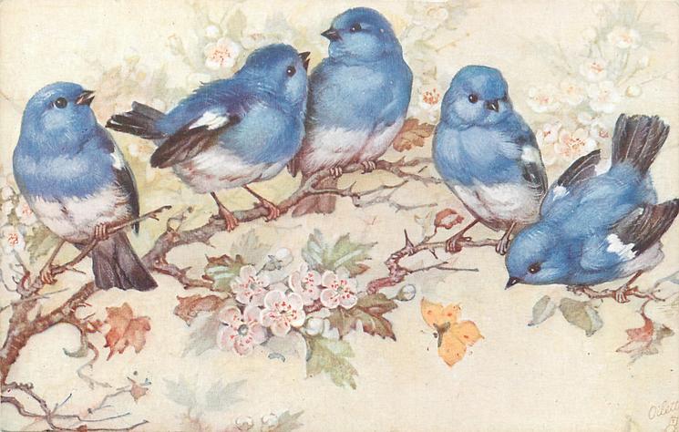 five blue birds on blossom tree, yellow butterfly below ...
